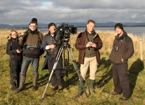 Autumnwatch crew at Loch Leven NNR last year to film the Pinkies.