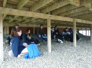Dollar pupils rest for lunch after exploring the reserve.