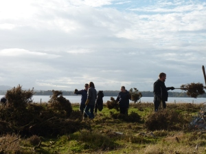 David provides the group with some direction toward new patches of gorse to be collected