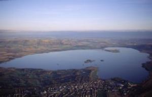 Aerial shot of Loch Leven
