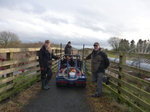 The team loaded the equipment, and set off for some serious fence fixing
