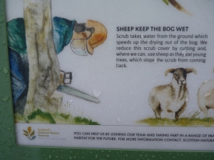 The interpretation panels feature a section on the need for removing trees and scrub from the bog