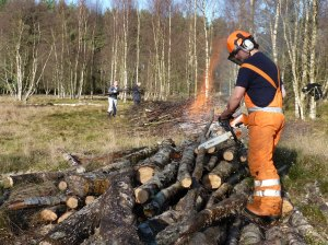 Jeremy taking care of some logs for the fire