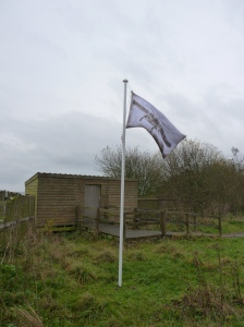 Victory flag by Alison Buckle (Artist in Residence).  It was great to see Alison's work of art blowing in the wind while we were up there working.