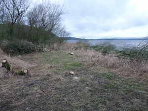 A tidy work site along the loch shore.