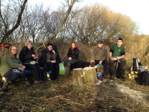 Some of the Wednesday volunteers in the picnic area.