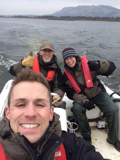 Grant, David and Raz enjoying the boat back!